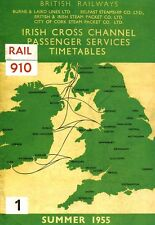 British Rail Irish Cross Channel Timetable 1955 Poster