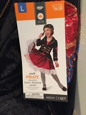 NWT Girls Youth Pirate Halloween Costume Large 10/12 Dress & Jacket