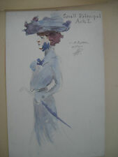 "Original Painting of Costume Design,""Small Principal, Act I"",  C1910, Signed"