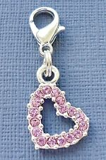 Pink Crystal HEART Dangle Clip On Charm Fit for Link Chain Floating locket C87