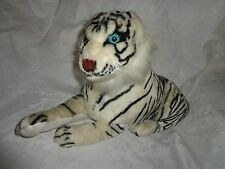 "Tiger Firm White Jungle Cat 15"" + 10"" Tail Plush Soft Toy Stuffed Animal"