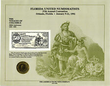 1992 ABNCo Souvenir Card - Florida United Numismatists Show, Orlando  - SO84