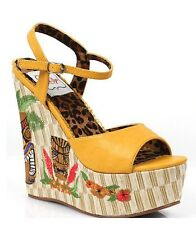 Bettie Page Yellow Keke Tiki Wedge Platform Sandal Shoes Retro Vintage Style uk7