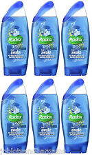 6 x 250ml Radox 2in1 Feel Awake With Fennel & Sea Minerals Shower Gel & Shampoo