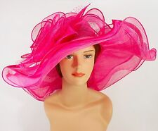 New Woman Church Kentucky Derby Wedding Sinamay 3 Layers Dress Hat 3034 Hot Pink