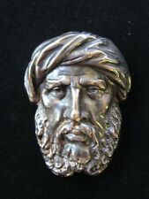 Joseff of Hollywood Signed Designer Brooch, Turban Man, Silver Tone Metal