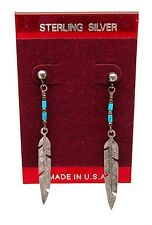 NEW! NATIVE AMERICAN Sterling Silver TURQUOISE Beaded FEATHER Dangle Earrings