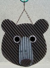 Bird House Bear Face NEW wood and corrugated sheet metal