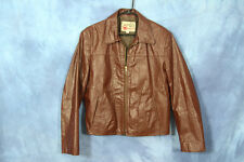 Vintage 70s 80s Light Brown Sears Leather Shop Jacket Motorcycle Size Regular 40