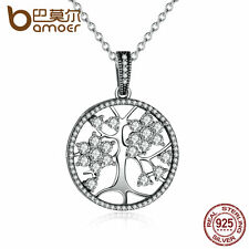 Bamoer Sparkling S925 Sterling Silver Necklace Tree of Life Clear CZ For Women