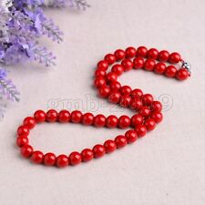 """Fashion Women's 8mm Genuine Coral Red Sea Shell Pearl Gemstone Necklace 18"""""""