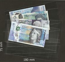 High Quality Acid Free  Banknote Sleeves 75mm x 180mm =  25 Pieces Brand New