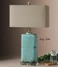 Turquoise Crackled Ceramic Table Lamp | Aqua Ceramic Distressed