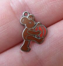 VINTAGE Tiny Deco German Sterling Silver MOUSE WITH BALL Enamel Bracelet Charm