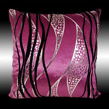 ABSTRACT SILVER BLACK CURVE PURPLE VELVET THROW PILLOW CASE CUSHION COVER 17""