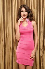 Womens Sexy Hot Pink Strappy Back Bandage Bodycon Bandeau  UK Cocktail  Dress