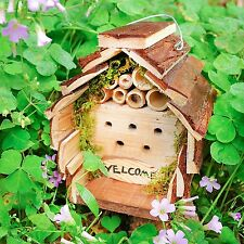 Mason Bee Hotel Garden Insect House Wooden Lady Bug Nesting Home Natural Decor