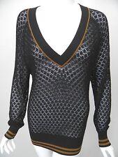 L.A.M.B. Gwen Stefani Black Pointelle Knit Brown Trim Cotton V-Neck Sweater sz S