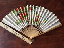15 inch Folding Wall Fan Chinese water color Hand painted  Large Bamboo frame