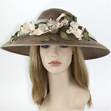 Vintage VIV KNOWLAND HATS Blocked Straw Hat Taupe w/ Flowers, Made in England