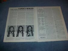 1989 Actress and Model Candice Bergen Vintage Interview Article Murphy Brown
