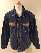 Rare Vintage KARL KANI Blue Denim Jean Button Up Jacket Sz XL Hip Hop
