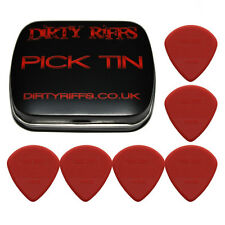 6 x Dunlop Max Grip Jazz III Red Guitar Picks / Plectrums In A Handy Pick Tin