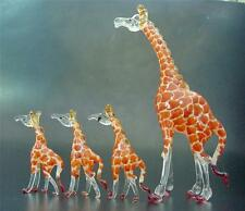 Glass GIRAFFE FAMILY 4 Glass Animals Orange Painted Glass Ornaments Curio Gifts