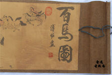 """Chinese Ancient picture silk paper """"100 horse """" Scroll painting 百马图 *****"""