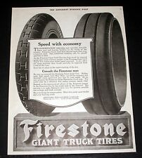 1918 OLD WWI MAGAZINE PRINT AD, FIRESTONE GIANT TRUCK TIRES, SPEED WITH ECONOMY!