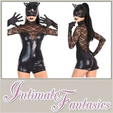 Sexy Cat Costume Halloween Fancy Dress Outfit Catsuit Jumpsuit Size 8 10 12