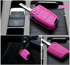 VW Volkswagen Golf MK7 Honeycomb Car Flip Key Case Skin Protection Cover Pink