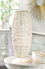 "19.1"" White Modern Living Room Bedroom Home Decor Woven Metal Iron Table Lamp"
