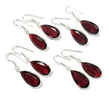 Garnet Faceted Quartz Wholesale Lot 4Pc 925 Silver Overlay Earring