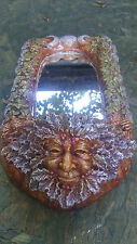 Yuletide Greenman Mirror with candle holder, Christmas, wiccan, pagan,Yule,xmas