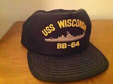 USS Wisconsin (BB-64) Battleship Cap Hat Embroidered United States Navy WisKy