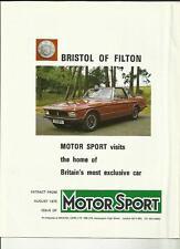 """Deporte del motor """"Bristol coches de Milton 'EDICIÓN ESPECIAL FOLLETO De Venta' ' agosto de 1975"""
