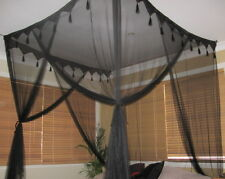 BLACK Mosquito Net Bed Canopy Super King Size 4 Poster Bed Style Box Net - NEW