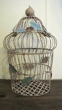 VINTAGE MID CENTURY DISTRESSED BIRD CAGE HOME & GARDEN PLANTER BASKET POT STAND