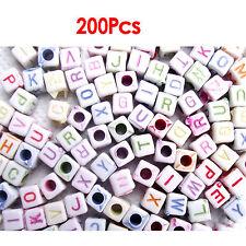 200 Buchstabe Würfel 6mm Kunststoffperlen Weiß Basteln GY