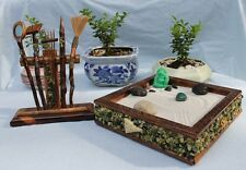 ZEN GARDEN SET DRY JAPANESE HAND CRAFTED TOOL RACK RAKE MEDITATE WOOD SAND Z2