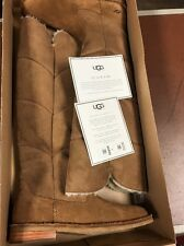 NIB $300 UGG Samantha Shearling Lined Suede Knee Boots Brown Tan Beige 7/5.5/38