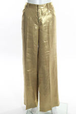 Ralph Lauren Black Label Gold Metallic Linen Flare Legged Dress Pants Size 6