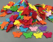 200pcs Mixed Colors Die Cut Felt Cardmaking decoration Butterfly shape 22mm