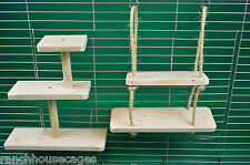 3 Tier Shelf & 2 Tier Swing Toys Furniture Rat Chinchilla Degu Parrot Cage