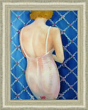Painting: ZIPS UP THE BACK AND NO BONES : acrylic: offered framed