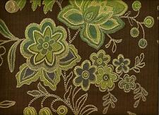 Designtex Faconne Cocoa Verde Modern Traditional Floral Upholstery Fabric