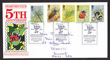 1985 INSECTS SET OF 5 ON STAMP BUG CLUB OFFICIAL FDC