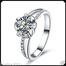 1.00CT Synthetic Diamond Solid Platinum PT950 Engagement Wedding Ring White Gold