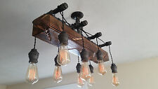 Distressed-Wood-Beam-Pendant-Chandelier-Pipe-light-Barn-wood-Industrial-rustic